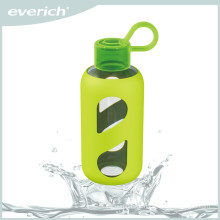 high quality heat-transfer printing drinking glass water bottle with silicone sleeve